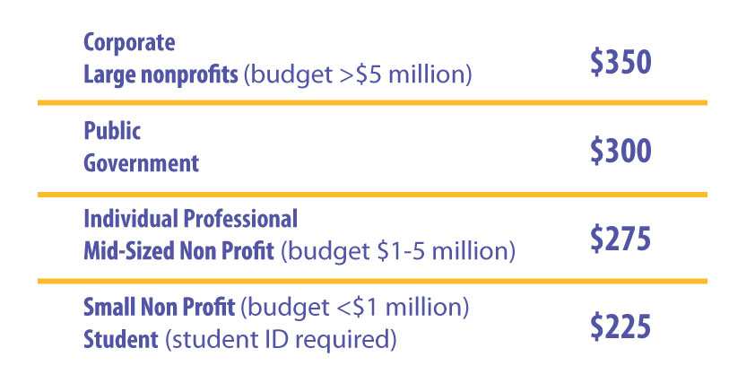 Course Pricing: Corporate or large nonprofit - $350, Public or government - $300, Independent Consultant or Mid-sized nonprofit - $275, Student or small non-profit - $225